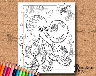INSTANT DOWNLOAD COlORING PAGE- Octopus with Flowers Page Print, doodle art, printable