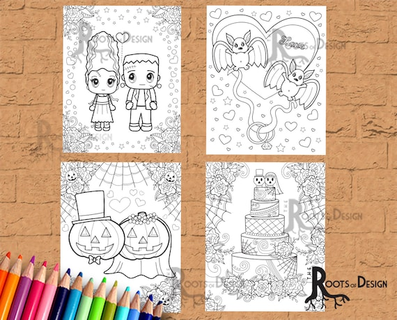 INSTANT DOWNLOAD Coloring Page  Halloween Wedding Coloring