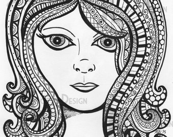 INSTANT DOWNLOAD Coloring Page - Girl with fun hair Art Print zentangle inspired, doodle art, printable