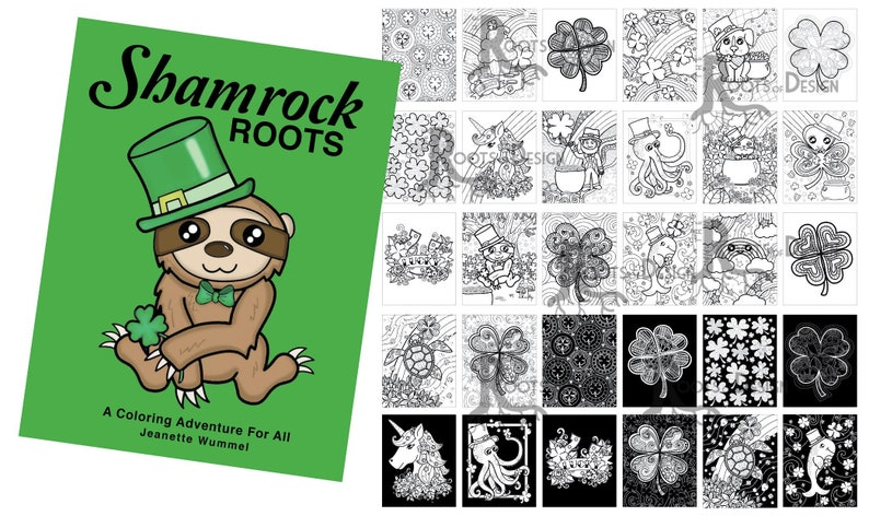 INSTANT DOWNLOAD Coloring Book Shamrock Roots Coloring | Etsy