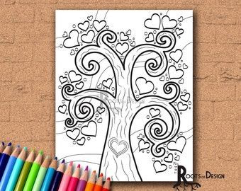 INSTANT DOWNLOAD Coloring Page - Heart Tree Coloring Print zentangle inspired, doodle art, printable