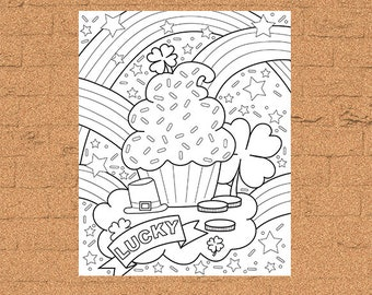 INSTANT DOWNLOAD Coloring Page - Clover Cupcake Print zentangle inspired, doodle art, printable