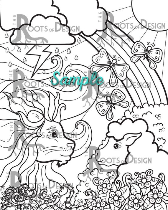 INSTANT DOWNLOAD Coloring Page Lion Lamb March