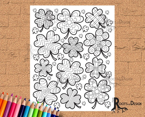 INSTANT DOWNLOAD Coloring Page  Shamrock Lots Of Them