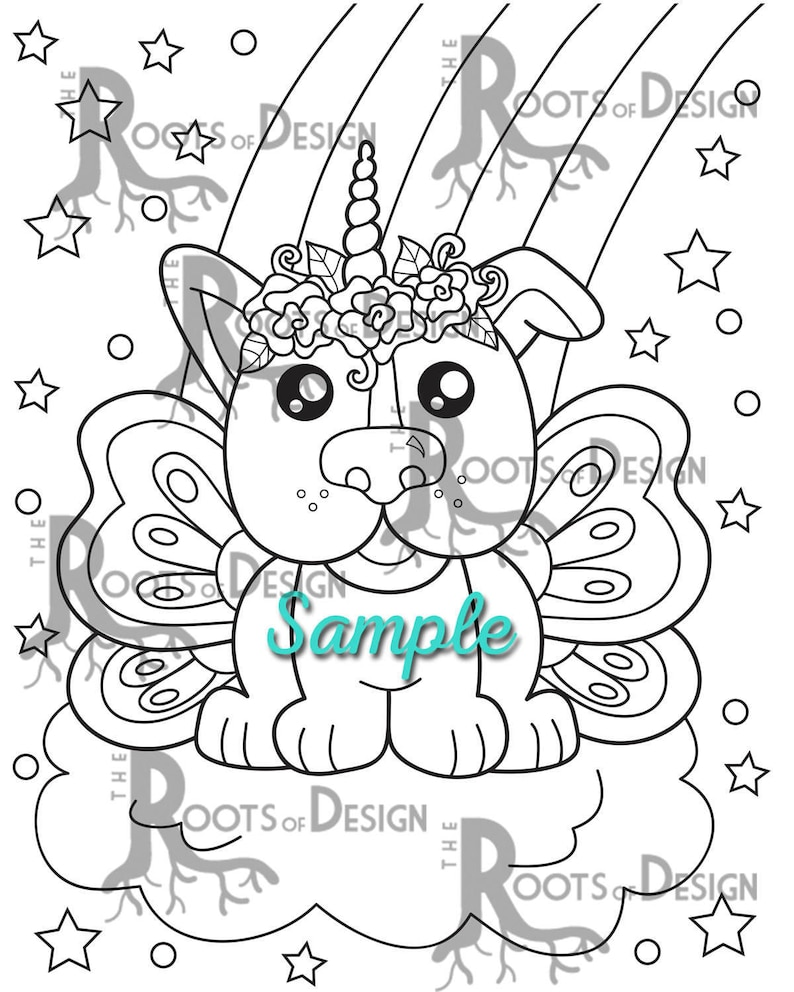 INSTANT DOWNLOAD Coloring Unicorn Dog coloring doodle art ...