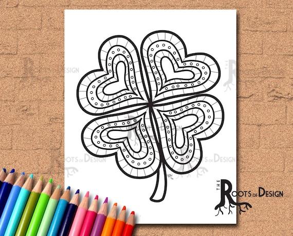INSTANT DOWNLOAD Coloring Page  Four Leaf Clover/ Shamrock