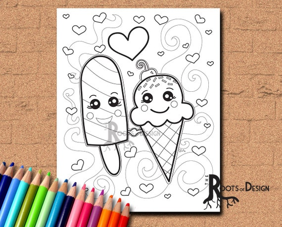 INSTANT DOWNLOAD Coloring Page  Ice Cream and Popsicle in