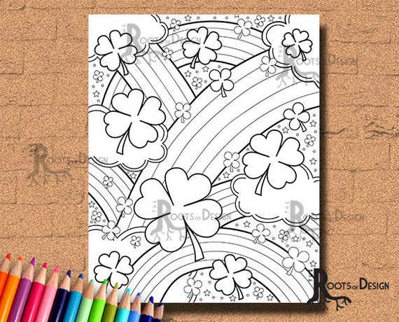 INSTANT DOWNLOAD Coloring Page  Shamrock and Rainbows doodle