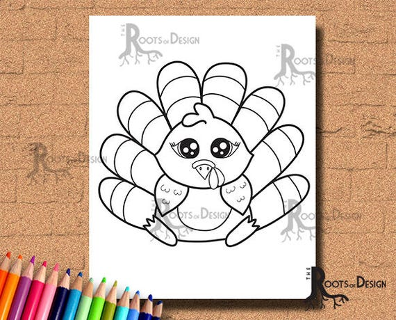 INSTANT DOWNLOAD Cute Turkey Coloring Coloring Page Print