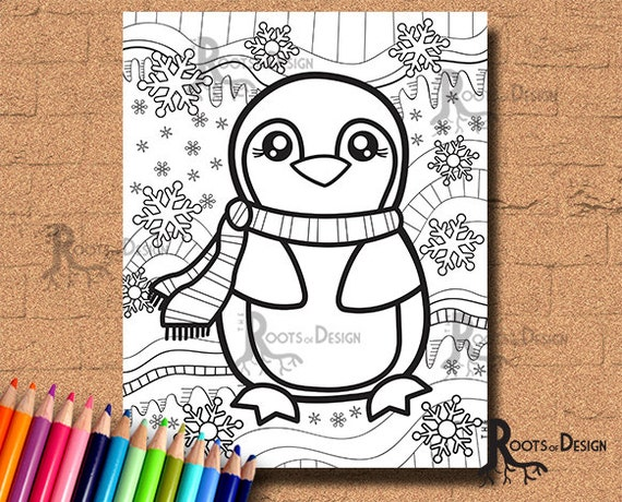 Instant Download Baby Penguin Coloring Coloring Page Print Etsy
