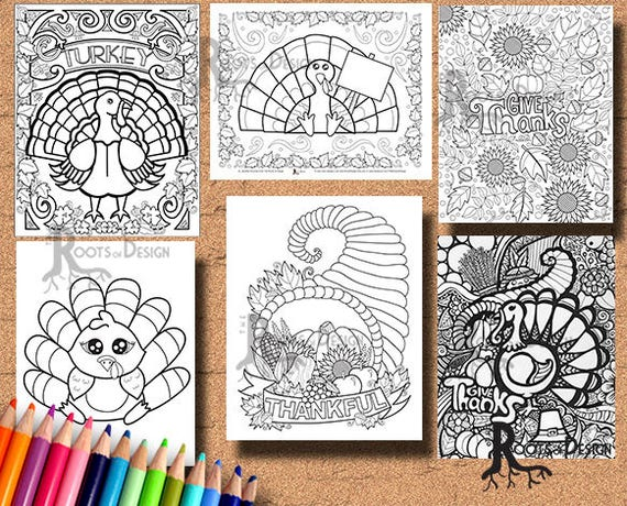 INSTANT DOWNLOAD Thanksgiving Bundle Coloring pages Coloring