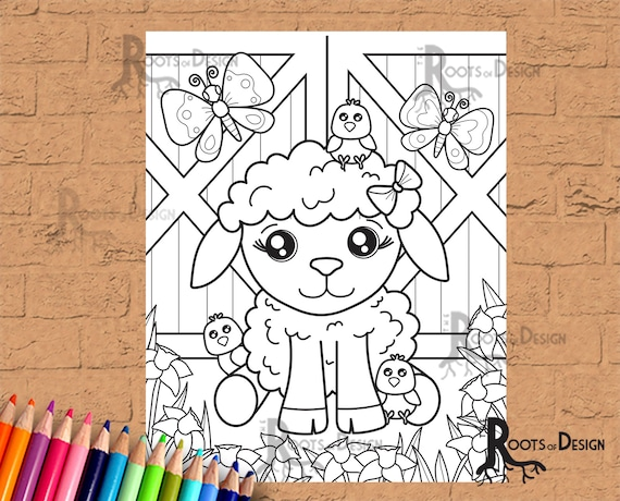 INSTANT DOWNLOAD Coloring Page  Easter Lamb  doodle art