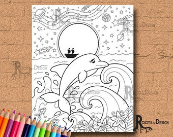 INSTANT DOWNLOAD COlORING PAGE- Dolphin In the Moon Light Page Print, doodle art, printable