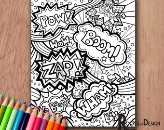 INSTANT DOWNLOAD Coloring Page - Comic Book Words/ Pop Art Print zentangle inspired, doodle art, printable