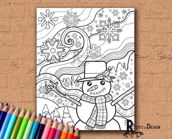 INSTANT DOWNLOAD Coloring Page  Snowman Doodle/ zendoodle