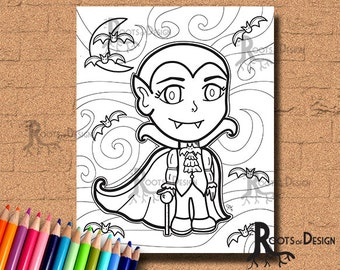 INSTANT DOWNLOAD Cute Vampire Coloring Coloring Page Print, doodle art, printable