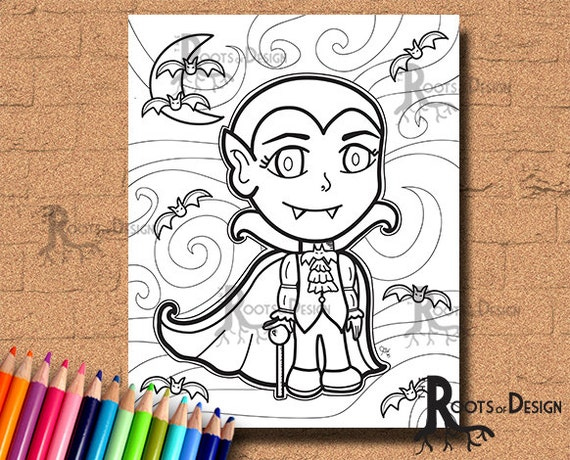 Instant Download Cute Vampire Coloring Coloring Page Print Etsy