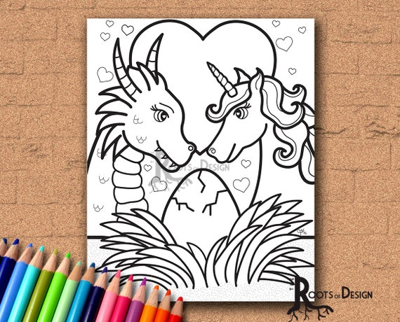 INSTANT DOWNLOAD Coloring Page Dragon And Unicorn Family