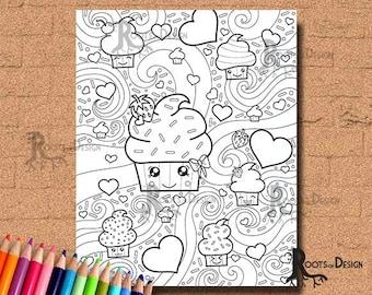 INSTANT DOWNLOAD Coloring Page Cupcake Mix Cutie Art Coloring Print, doodle art, printable