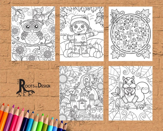 INSTANT DOWNLOAD Coloring Page  Autumn / Fall Coloring Pack
