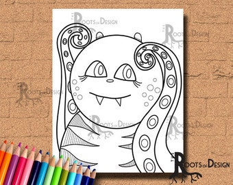 INSTANT DOWNLOAD Monster Coloring Coloring Page Print, doodle art, printable Monster 2