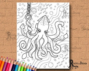INSTANT DOWNLOAD COlORING PAGE- Squid Page Print, doodle art, printable