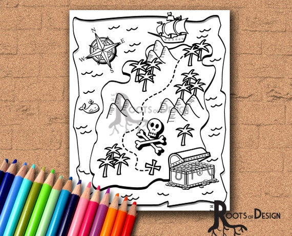 INSTANT DOWNLOAD Coloring Page Treasure Map Art Printable Etsy
