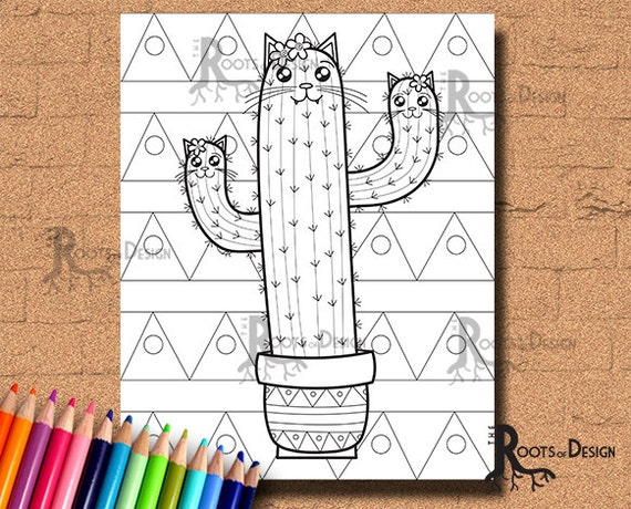Instant Download Cute Cat Tus Cactus Coloring Coloring Page Etsy