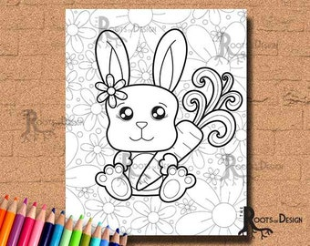 INSTANT DOWNLOAD Coloring Page - Cute Bunny Print, doodle art, printable