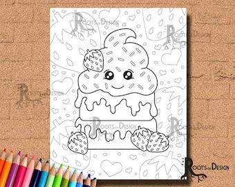 INSTANT DOWNLOAD Coloring Page Strawberry Shortcake Cutie Art Coloring Print, doodle art, printable
