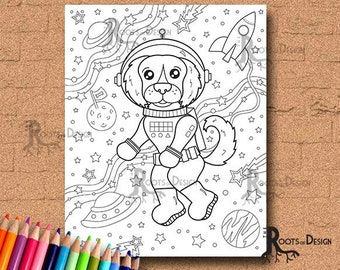 INSTANT DOWNLOAD Coloring Page -  Space Dog, doodle art, printable