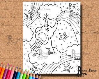 INSTANT DOWNLOAD Coloring Page -  El-e-Corn (Elephant Unicorn) Art Print, doodle art, printable