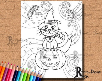 INSTANT DOWNLOAD Coloring Cat Witch Coloring Page Print, doodle art, printable