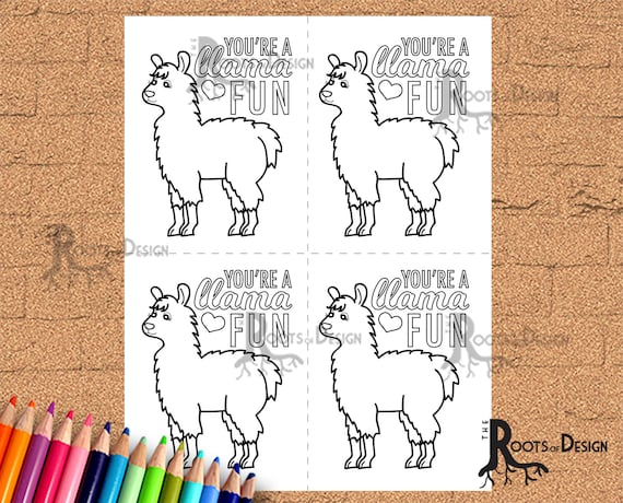 - Instant Download Cute Llama Valentine Card For Coloring Etsy