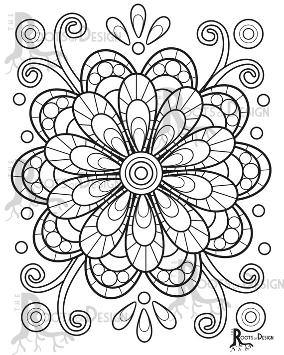 Instant Download Coloring Page Fun Mandala Flower Or Etsy