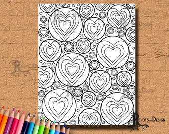 INSTANT DOWNLOAD Coloring Page -Hearts In Circles Art Coloring Print zentangle inspired, doodle art, printable