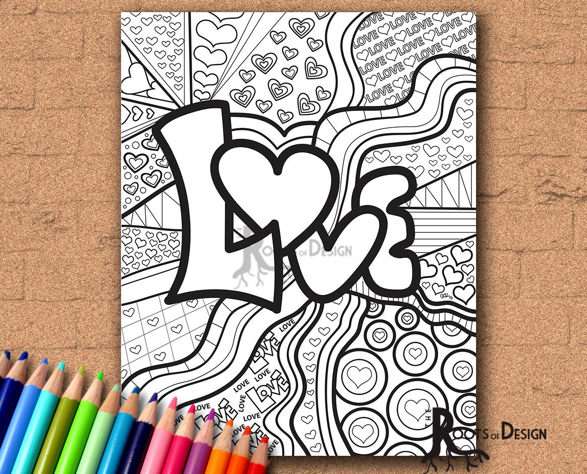 Printable Drawings For Coloring INSTANT DOWNLOAD Coloring Page Love Word Art Print