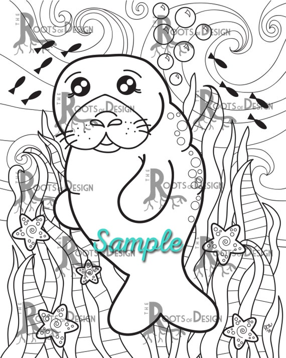 Instant Download Coloring Page Cute Manatee Print Doodle Art Printable