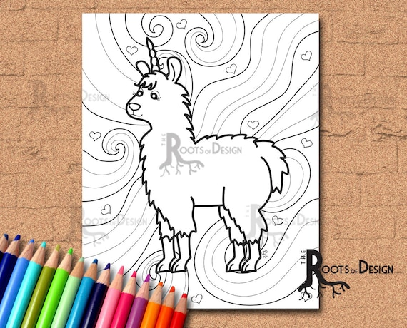 INSTANT DOWNLOAD Coloring Page Fun Llamacorn Doodle Art | Etsy
