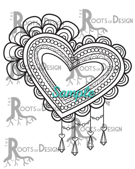 INSTANT DOWNLOAD Coloring Page - Fancy, Lace Heart Coloring Print, doodle  art, printable