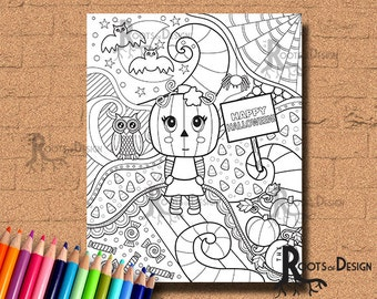 INSTANT DOWNLOAD Happy Halloween Coloring Coloring Page Print, doodle art, printable