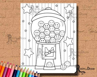 INSTANT DOWNLOAD Coloring Page Gumball Machine Cutie Art Coloring Print, doodle art, printable