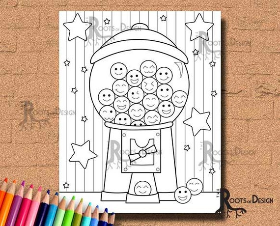 instant download coloring page gumball machine cutie art etsy instant download coloring page gumball machine cutie art coloring print doodle art printable