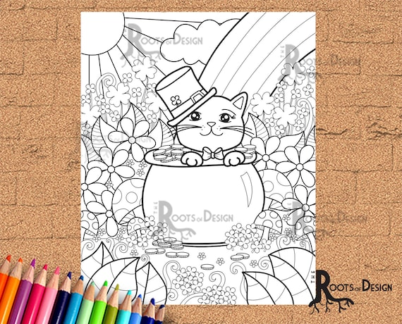 INSTANT DOWNLOAD Coloring Page  St Patrick's Day Kitty