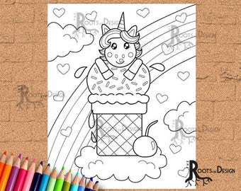 INSTANT DOWNLOAD Coloring Page - Unicorn Ice Cream Print, doodle art, printable