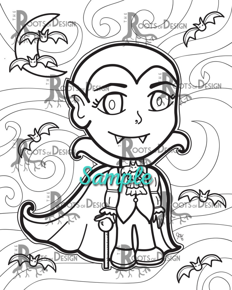 INSTANT DOWNLOAD Cute Vampire Coloring Coloring Page Print ...