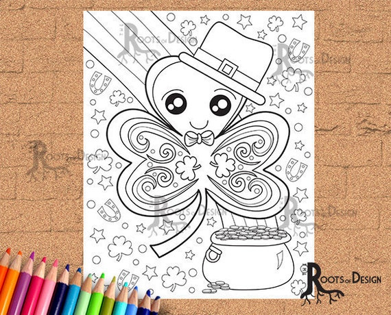 INSTANT DOWNLOAD Coloring Page  St Patrick's Day Four