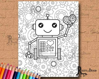 INSTANT DOWNLOAD Coloring Page - Robot with gears 2, doodle art, gamer printable
