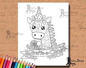 INSTANT DOWNLOAD Coloring Page Giraffe-a-Corn Art Coloring Print, doodle art, printable