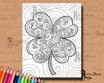 INSTANT DOWNLOAD Coloring Page - Shamrock / Clover Print 3 zentangle inspired, doodle art, printable